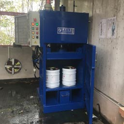 小型危废铁桶压扁机(防爆型)